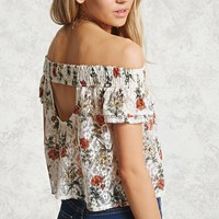 Floral Print Sheer Lace Top
