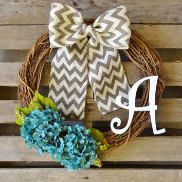 Monogram Wreath,Grapevine Wreath, Hydrangea Wreath, Initial Wreath, Door Hanger, Year Round Wreath