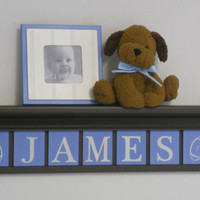 "Football Nursery Decor 30"" Chocolate Brown Shelf with 7 Baby Blue Wooden Wall Letters Personalized for JAMES with Footballs"