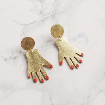 Red Nails Palm Shaped Earrings