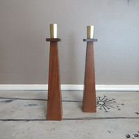 Vintage Candle Holders Wooden Candle Holder Mid Century Modern Candle Holder Wood and Brass Taper Candle Holder Danish Modern Centerpiece