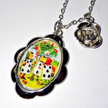 Alice's Adventures in Wonderland: playing cards painting the roses red pendant necklace