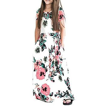 HOOYON Dresses Girls Floral Printed Short Sleeve Casual Summer Long Maxi Dress with Pockets