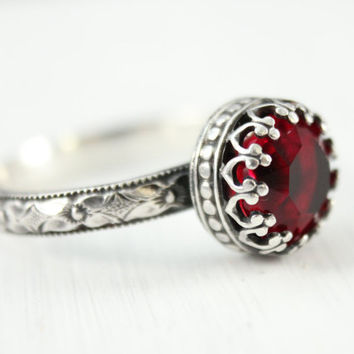 Vintage Red silver ring, 8 mm Swarovski Ruby crystal, sterling silver, floral band, crown setting, July birthday birthstone
