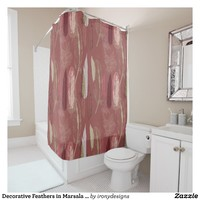 Decorative Feathers in Marsala Wine Shower Curtain