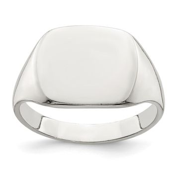 925 Sterling Silver 11x14mm Solid Back Signet Ring