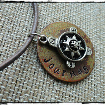 Journey Mens Leather Compass Charm and Copper Disc Necklace