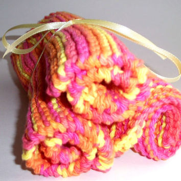 Hand crafted knit dish cloth Set of 3-Orange, Pink and Yellow