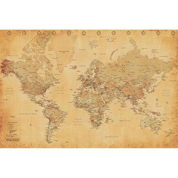 PEAPGQ9 Antique World Map 24x36 Standard Wall Art Poster