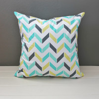 Multicolor Herringbone Pillow: Vintage Inspired Print Throw Pillow Covers, Aqua, Teal, Lime Green and Charcoal Chevron, Bright Summer Pillow