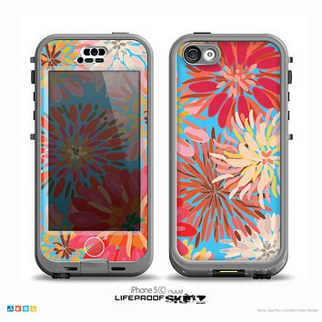 The Brightly Colored Watercolor Flowers Skin for the iPhone 5c nüüd LifeProof Case