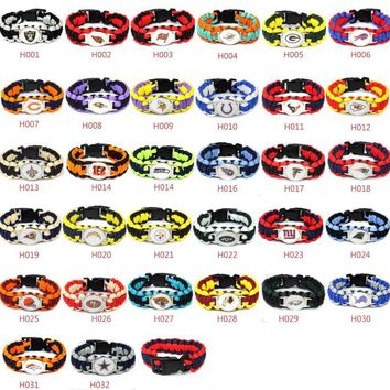 13 American football teams bracelet for choose 25cm NY Jet umbrella braided bracelet football fans gift 10pcs
