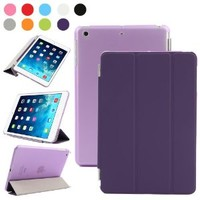 Besdata PT25_26 Ultra Thin Magnetic Smart Cover & Clear Back Case for Apple iPad Mini 2 / Mini 3 with Screen Protector, Cleaning Cloth and Stylus - Purple