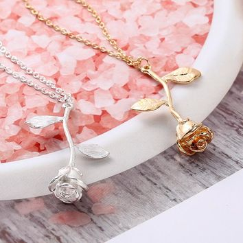 Mossovy Charms Rose Flower Necklaces Pendants Jewelry Fashion Silver Necklace Women Accessories for Best Friend Collier Femme