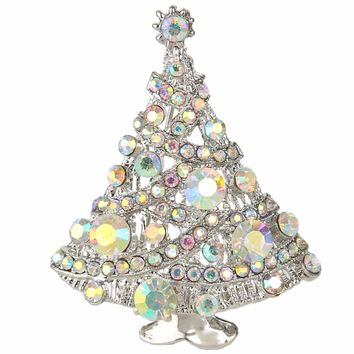 Bella Fashion Clear AB Bling Christmas Tree Rhinestone Brooch Pins Austrian Crystal Brooch Accessories For Party Christmas Gift