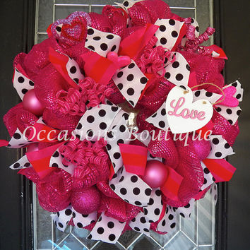 Valentine's Day Wreath, Valentine's Decoration, Front door wreaths, Wreath for door, Valentine's Day, Ready to ship