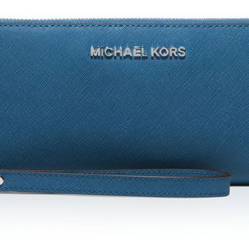 NWT Michael Kors Jet Set Travel Continental Wallet Saffiano Leather Steel Blue