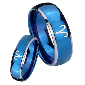His Her Glossy Blue Dome Aries Zodiac Two Tone Tungsten Wedding Rings Set