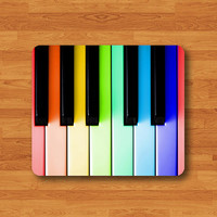 Colorful Piano Keys Song Music Kid Mouse Pad Black Drawing Desk Deco Rubber Smooth MousePad Vintage Color Instrument Music Song Work Pad