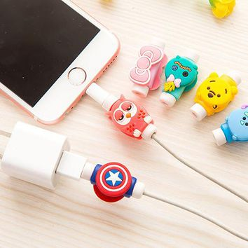 NEW 1PC Fashion Cute Cartoon USB Cable Protector Cover Case For Apple Iphone android Charger Data Cable Earphone cable winder