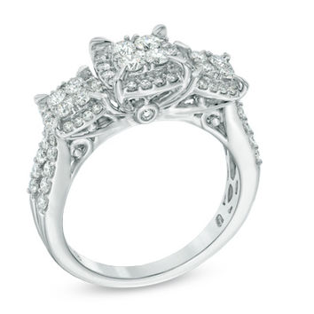 1 CT. T.W. Quad Diamond Frame Three Stone Engagement Ring in 10K White Gold
