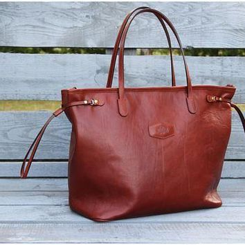 Designer Handmade Bag, Leather Zip Tote Cognac, Leather