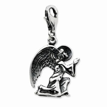 Sterling Silver Antique Kneeling Angel w/Lobster Claw Clasp Charm
