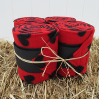 Set of 4 Polo Wraps for Horses- Red and Black Heart Print Fleece