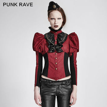 PUNK RAVE GOTHIC RED STEAMPUNK SHIRT BLOUSE VICTORIAN COSPLAY PINUP VTG TOP Y681