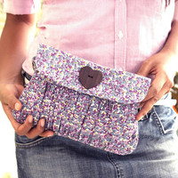 Lavender Pleated Wristlet Purse with flap and detachable strap
