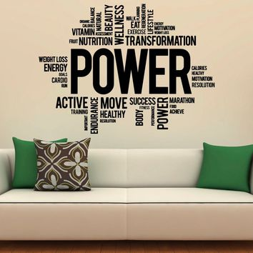 Fitness Motivation Wall Decal Vinyl Stickers Sport Gym Words Interior Home Design Art Murals Wall Graphics Decor Made in US