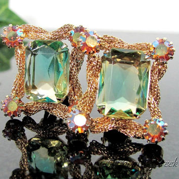 Vintage VITRAIL RHINESTONE Earrings Gold Tone Clip AB Unfoiled Blue Green