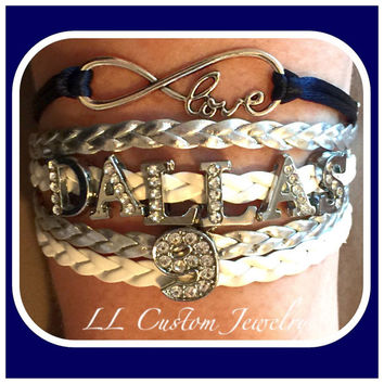 5 strand Infinity/Love, DALLAS Football with Players Number in Rhinestone Charms Bracelet - or Customize with other words, colors, etc.