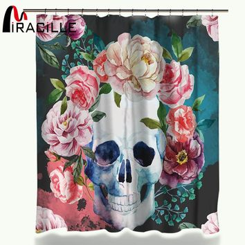 Flower Sugar Skull Shower Curtain Polyester Waterproof Fabric Shower Curtains For Bathroom 150x180cm/180x180cm