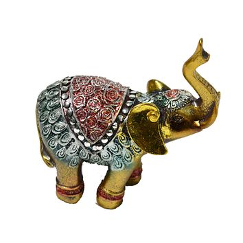 Set Of 6 Gold Elephant Statue Ornament Figurine Ornaments Resin Crafts For Fortune Wealth Home Office Decor Lucky Gifts