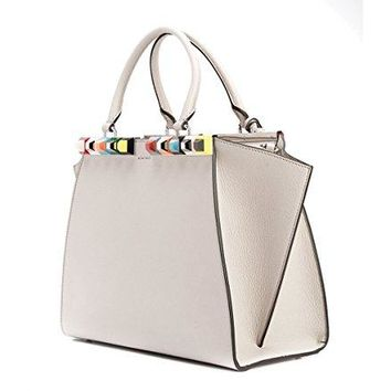 Fendi 3Jours Studded Calfskin Leather Shopper Grey Italy Bag New