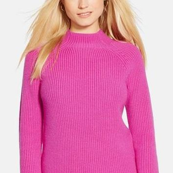 Women's Lauren Ralph Lauren Mock Neck Merino?Sweater,