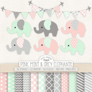 Baby Elephant Clipart. Baby Shower, Nursery Clip Art & Digital Paper. Banner in Mint, Pink, Grey. Chevron, Heart, Polka Dot, Stripe Patterns