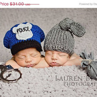Sale Newborn photo prop hat, baby cop hat, newborn police hat, infant policeman hat, baby costume, photo prop, crochet cop hat