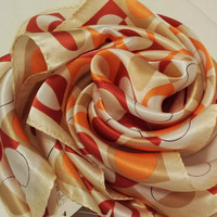Silk scarf dots orange peach red white circles squares sunny