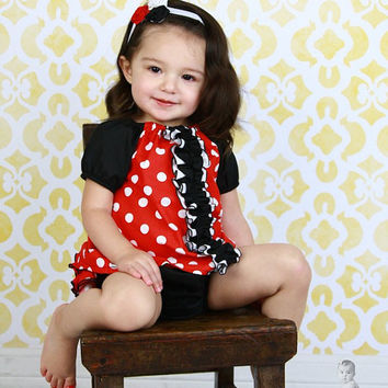 Minnie Mouse Top Peasant Ruffle Top Tunic Shirt for Baby Toddler Newborn