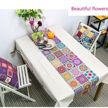 Free shipping Home Textiles Cotton Cloth Table Rectangular Rural folk style Cover Cloth Hotel Tablecloths Living room Tablecloth