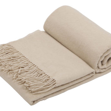 GOBI Mongolian Cashmere Home Throw in Beige  79 x 57 inches