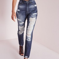 Missguided - Riot High Rise Extreme Rip Skinny Jeans Indigo Blue