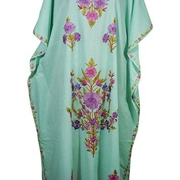 Mogul Womens Caftan Kashmiri Floral Embroidered Cotton Kaftan Maxi Dress