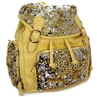 """Fabulous! Glitzy Sequin Backpack Purse Sequins 15"""" (Yellow)"""