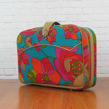 Vintage 1960s Mod Suitcase K. Gimbel NY Colorful Floral Luggage Carry On Bag Made in Japan