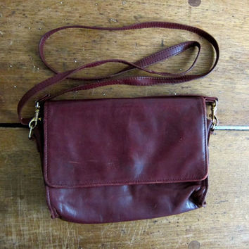 Brown Leather Purse Small Cross Body Purse Preppy Cognac Brown 90s Shoulder Bag Vintage Minimal Boho Hipster Bag Womens Everyday Bass Purse