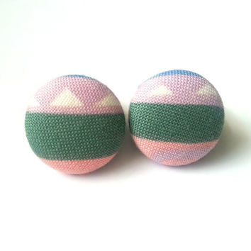 NEW pastel tribal with triangles fabric button earrings