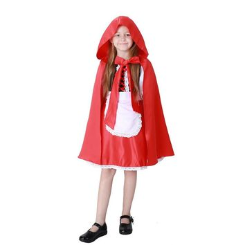 2017 New Children Girls Little Red Riding Hood Cute Dress+Big Cloak+Apron Maid Dress Costume Halloween Cosplay Costume Clothing